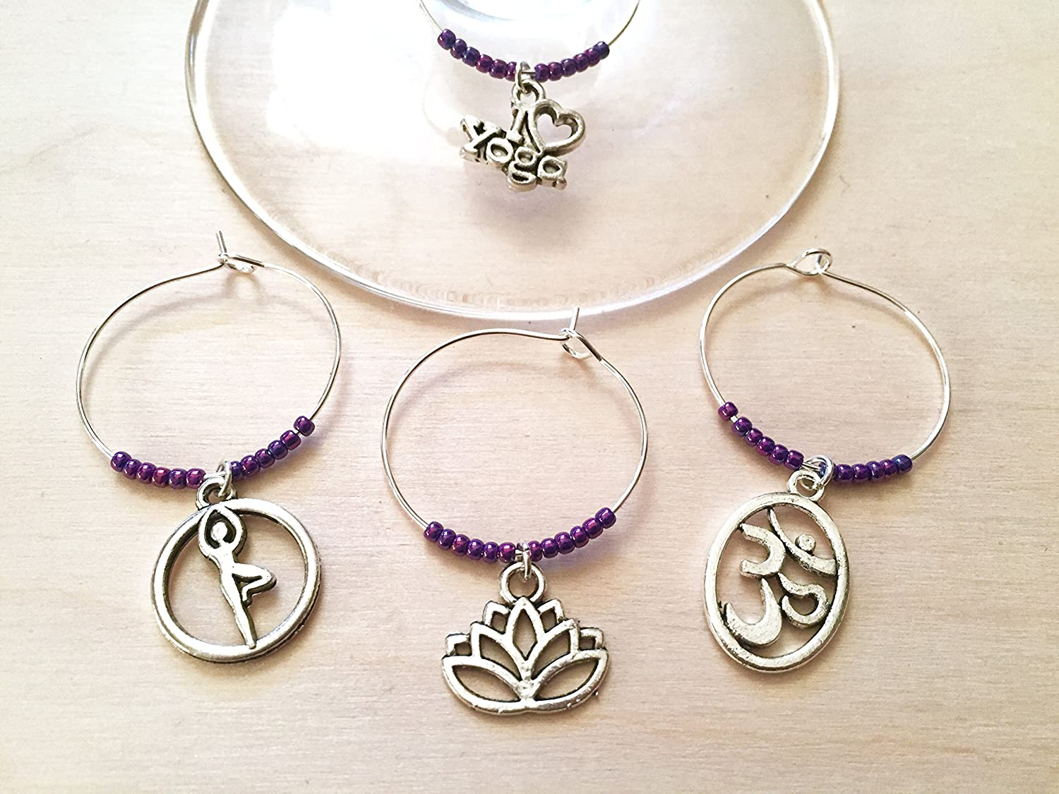 Yoga wine charms, I Love Yoga, Yoga gift, Namaste, Ohm, Lotus Flower, Tree Pose, PURPLE BEADS, Wine charm set.