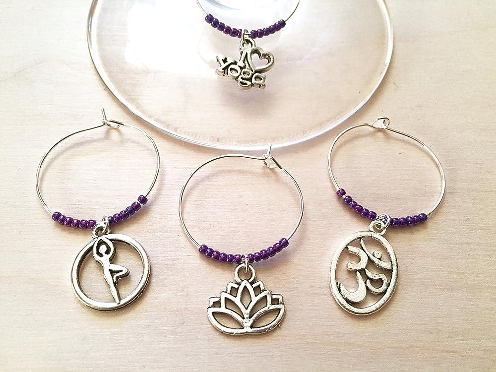 Yoga wine charms, I Love Yoga, Yoga gift, Namaste, Ohm, Lotus Flower, Tree Pose, PURPLE BEADS, Wine charm set.