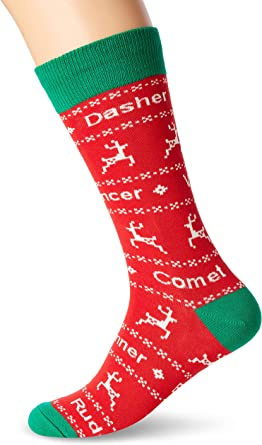 Red New Socksmith Women/'s Novelty Christmas Crew Socks Dasher and Dancer