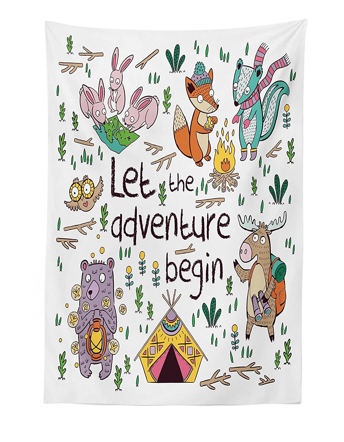 "Lunarable Camping Tapestry, Let The Adventure Begin Words with Camping Moose Owl Hare and Foxes in The Forest, Fabric Wall Hanging Decor for Bedroom Living Room Dorm, 30"" X 45"", Ivory White"