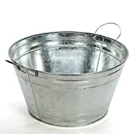 "Hosley Galvanized Beverage Tub with Handles. 17.75"" Long. Ideal for Gardens, Party, Storage, Patio and Great Gift for Special Occasions and for Home Decor. O3"