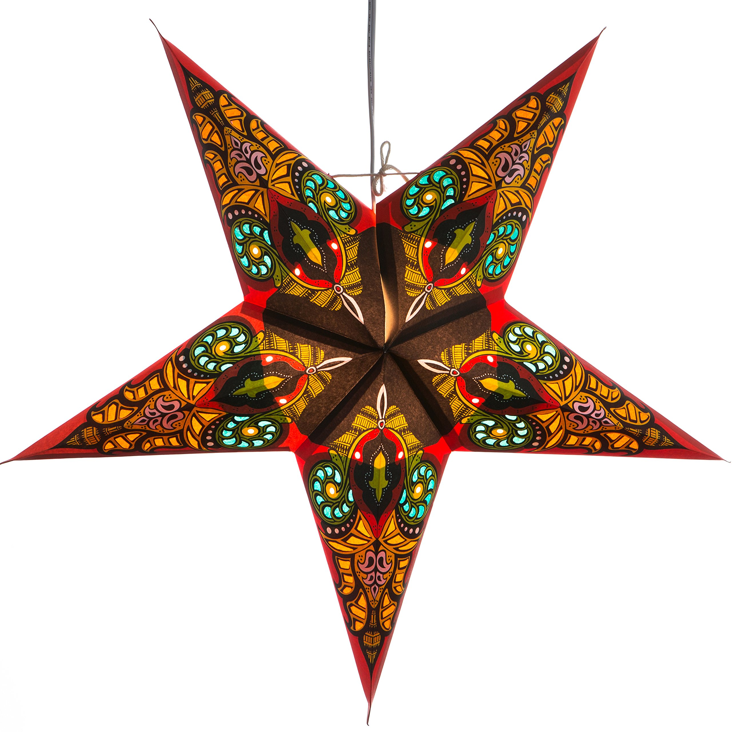 Red Mango Paper Star Lantern with 12 Foot Power Cord Included by Hometown Evolution, Inc. (Image #2)
