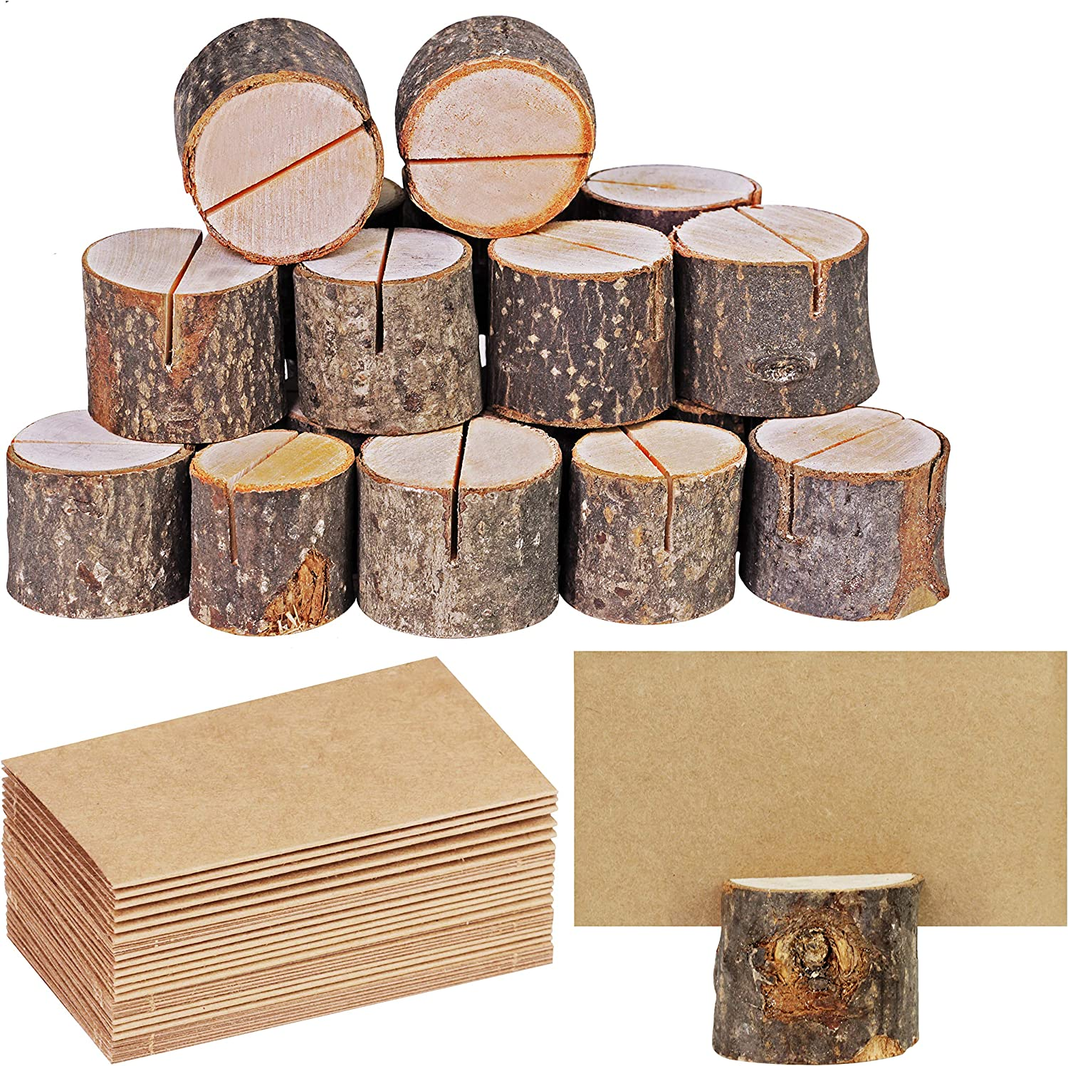 Supla 20 Pcs Rustic Wood Place Card Holders Circular Table Numbers Holder Stand Wooden Bark Memo Holder Card Photo Picture Note Clip Holders and Kraft Place Cards Bulk Wedding Party Table Number Sign: Home & Kitchen