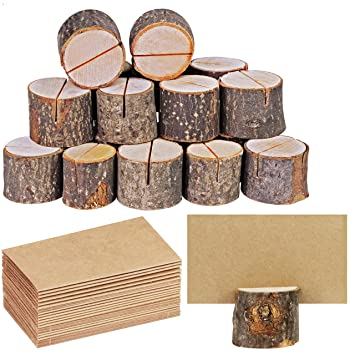 Amazoncom Supla 20 Pcs Rustic Wood Place Card Holders Circular
