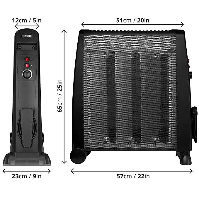 Duronic HV051 Calefactor Radiador Eléctrico Bajo Consumo con Panel de Mica de 1500 W y Termostato, Paneles Calefactores Libre De Aceite que Calientan en 1 ...