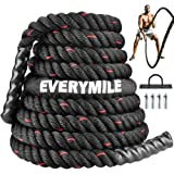 EVERYMILE Battle Rope, Workout Rope for Core Strength Training,Crossfit,100% Poly Dacron Heavy Exercise Training Rope with An