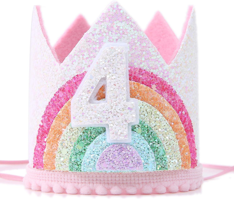 Amazon Com Corona De Cumpleaños Para Niña Arcoíris Sombrero De Cumpleaños Para Suministros De Fiesta De Eventos 1 2 6 Cumpleaños Foto Apoyos Corona De Princesa Con Suave Arco Iris Toys Games