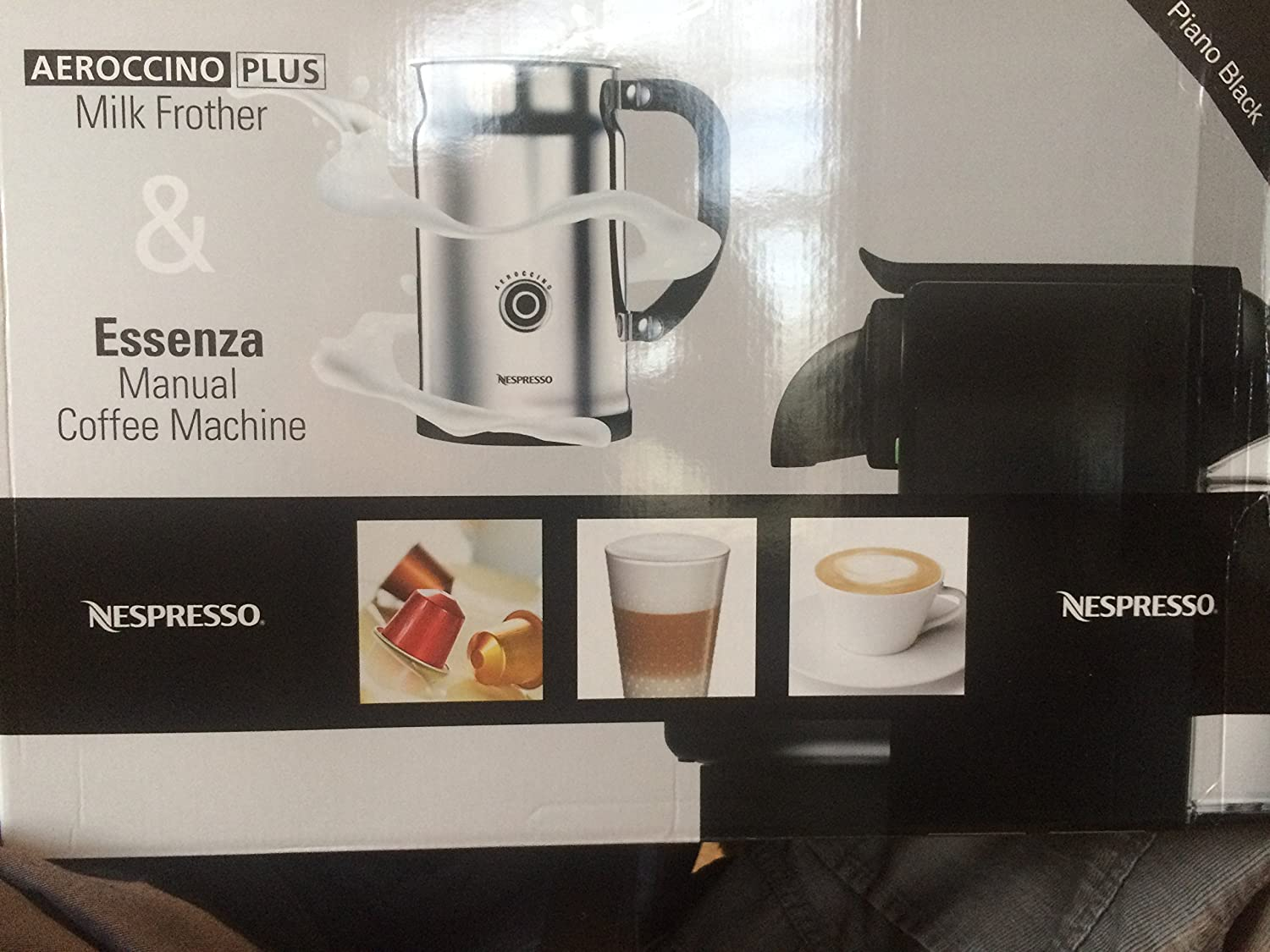 Essenza Manual Espresso Machine with Aeroccino Plus Milk Frother Bundle Option: Black/Aero+Bundle by Nespresso: Amazon.es: Hogar