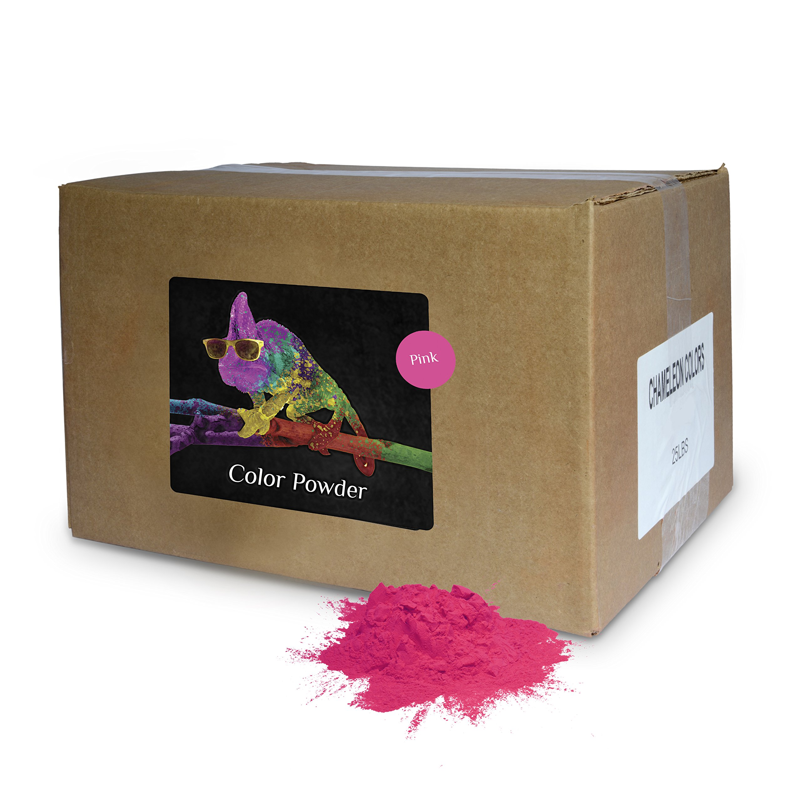 Holi Powder Bulk by Chameleon Colors - Pink - 25 lbs. Pure, Authentic - Perfect for a Color Race, 5k, Festival, Party or Any Other Event You Want to Make Colorful. by Chameleon Colors