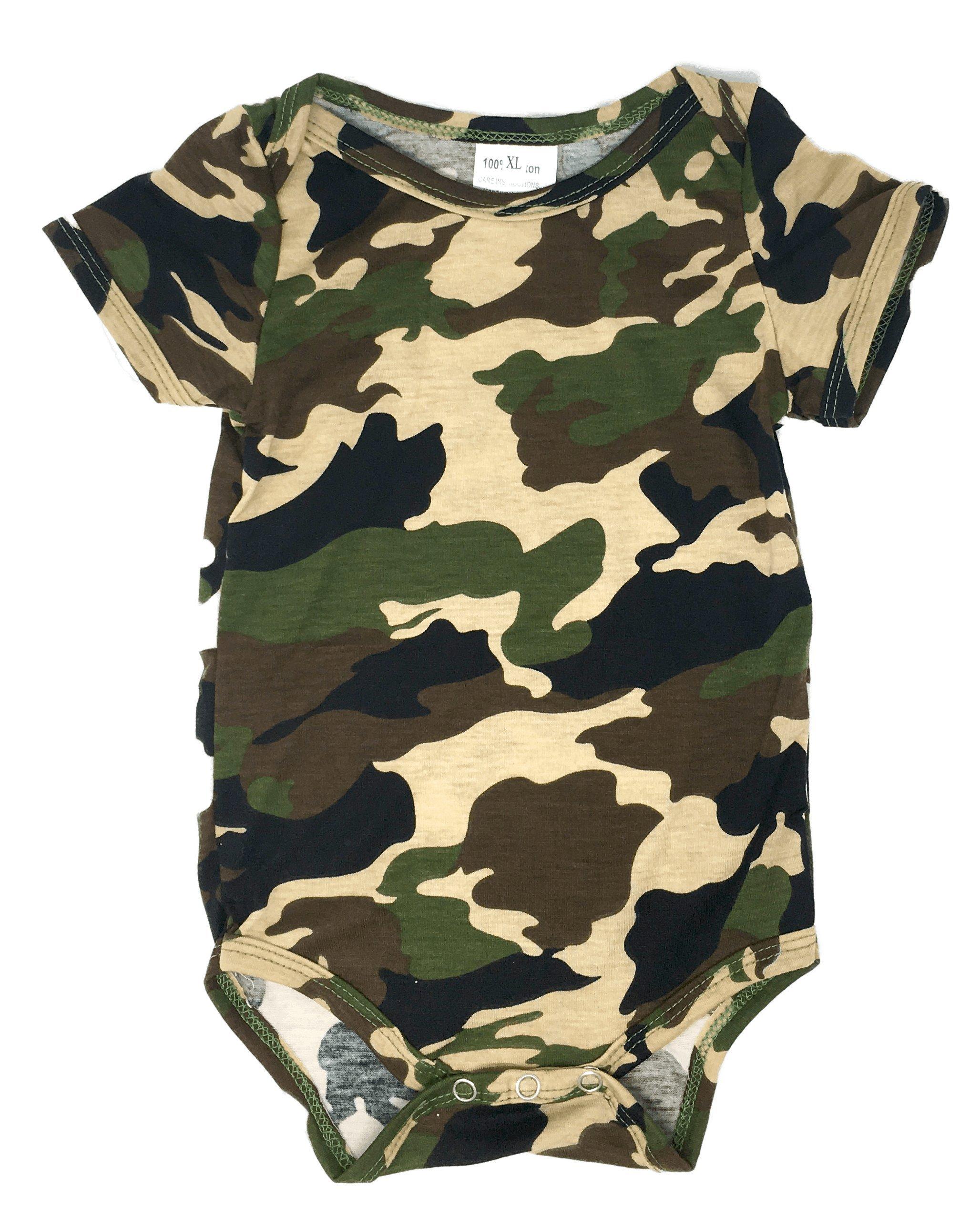 Newborn Camouflage Baby Bodysuit 0-3 Months Onesie, Desert Green Camouflage)