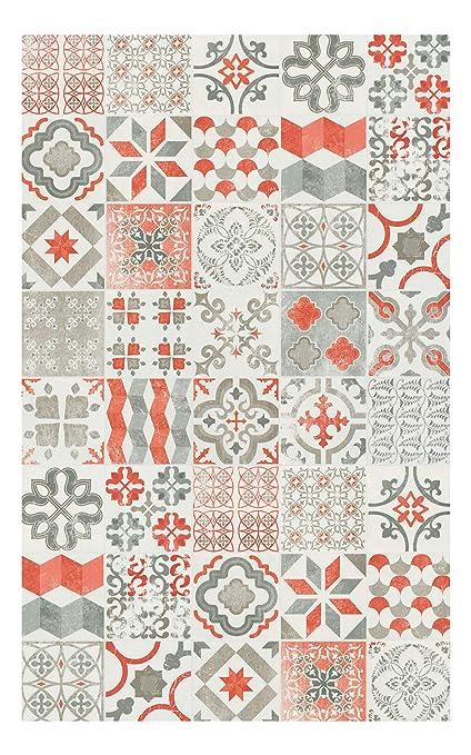 Tapis Vinyle Lino Pvc Carreaux De Ciment Rouge 100 X 200 Cm