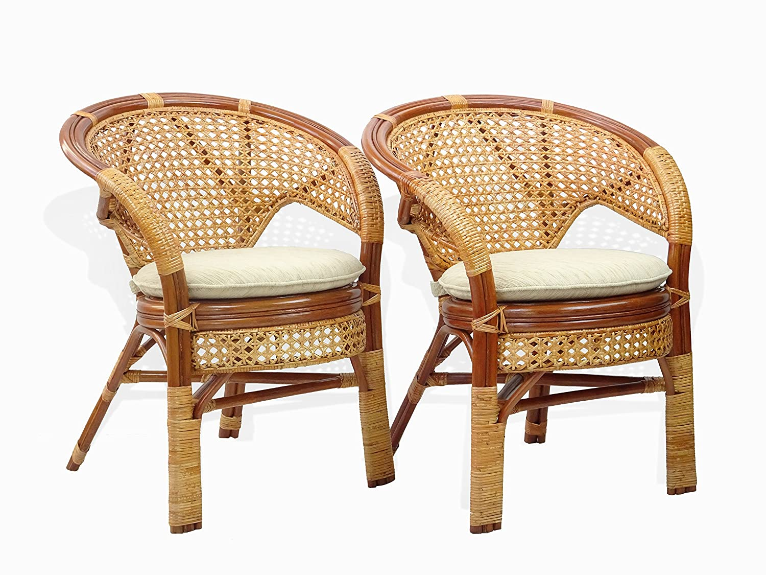 Pelangi Handmade Rattan Dining Wicker Chair W cushion Colonial Light Brown