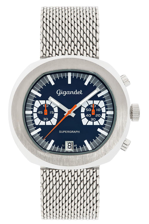 Gigandet Supergraph Herren Quarz Armbanduhr Chronograph Analog Datum Silber Blau G11-003
