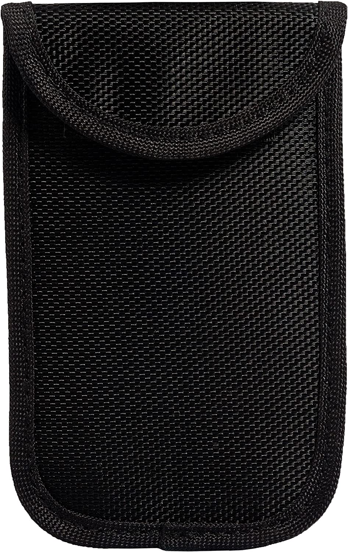 ECENCE 1x Very Small RFID Radiation Protection Bag for keyless Keys keyless go kessy car Key Signal Blocker Theft Protection Black Color 13010304