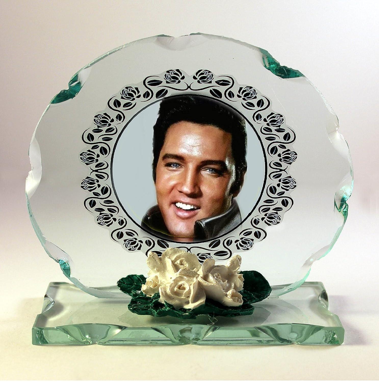 Elvis Presley tout A fait Trembler plaque ronde en verre taill/é occasion sp/éciale Porcelaine Blanc roses Hommage Limited Edition # 1
