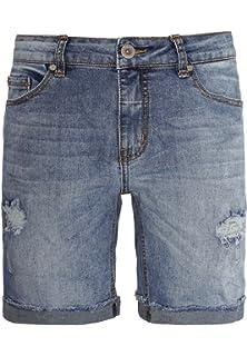 Sublevel Damen Jeans Shorts mit Perlen | Kurze Hose mit