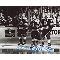 $179 » Patrice Bergeron Brad Marchand Charlie McAvoy Boston Bruins Signed Autographed Black and White 8x10