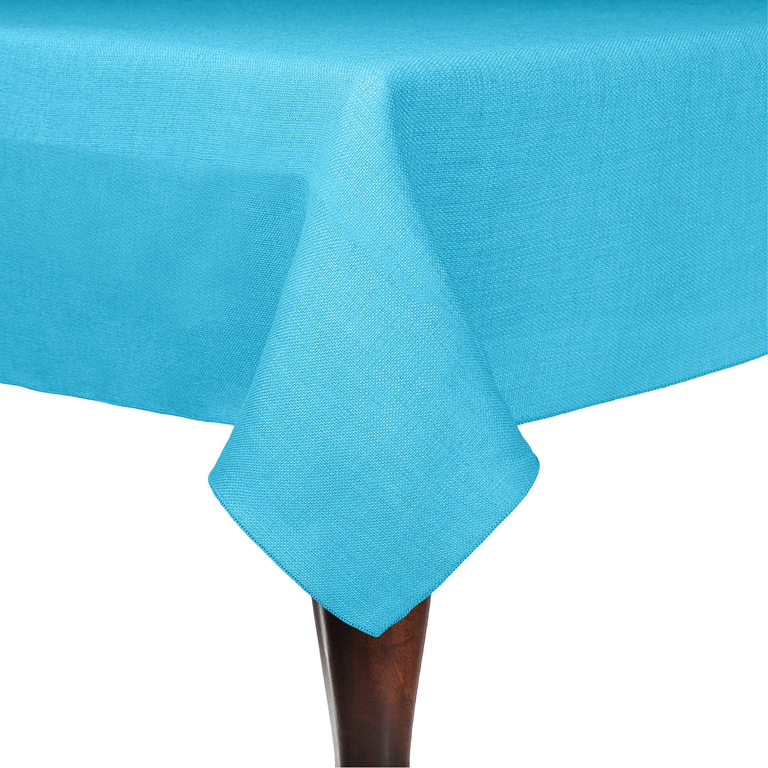 Ultimate Textile (5 Pack) Faux Burlap - Havana 60 x 120-Inch Rectangular Tablecloth - Basket Weave, Turquoise Blue