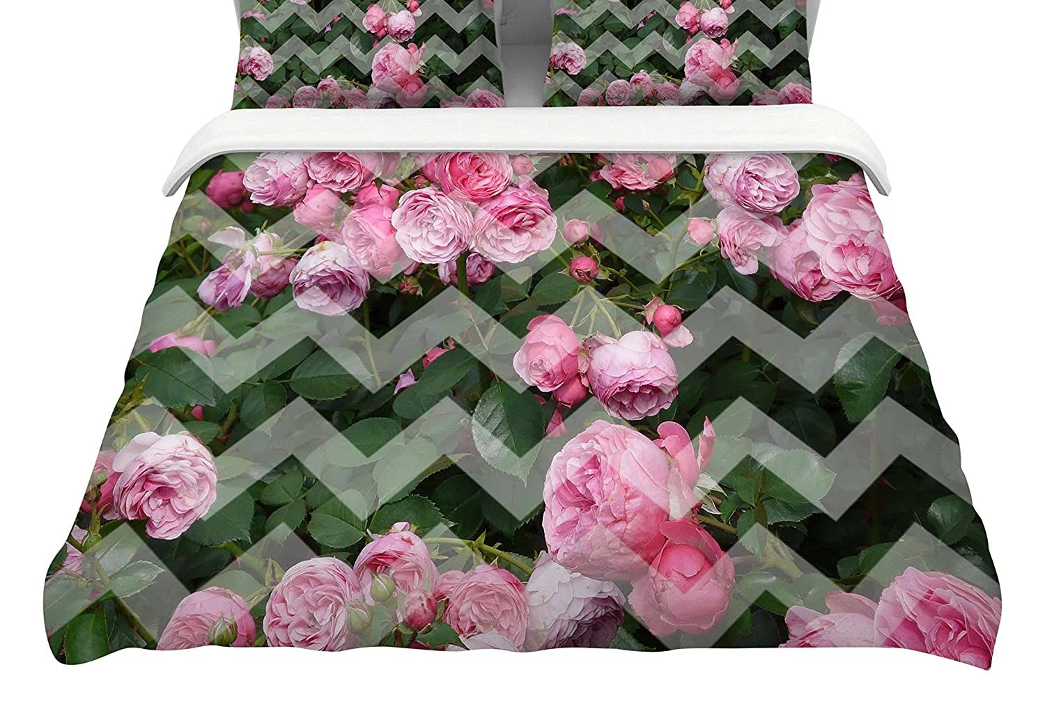 104 by 88-Inch Kess InHouse Suzanne Carter Chevron Rose Pink Green King Cotton Duvet Cover