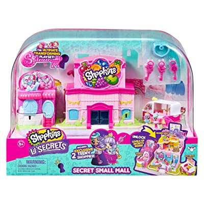 Shopkins Lil' Secrets Secret Small Mall Multi Level Playset with Grocery Store, Fashion Boutique & Ice Cream Truck: Toys & Games