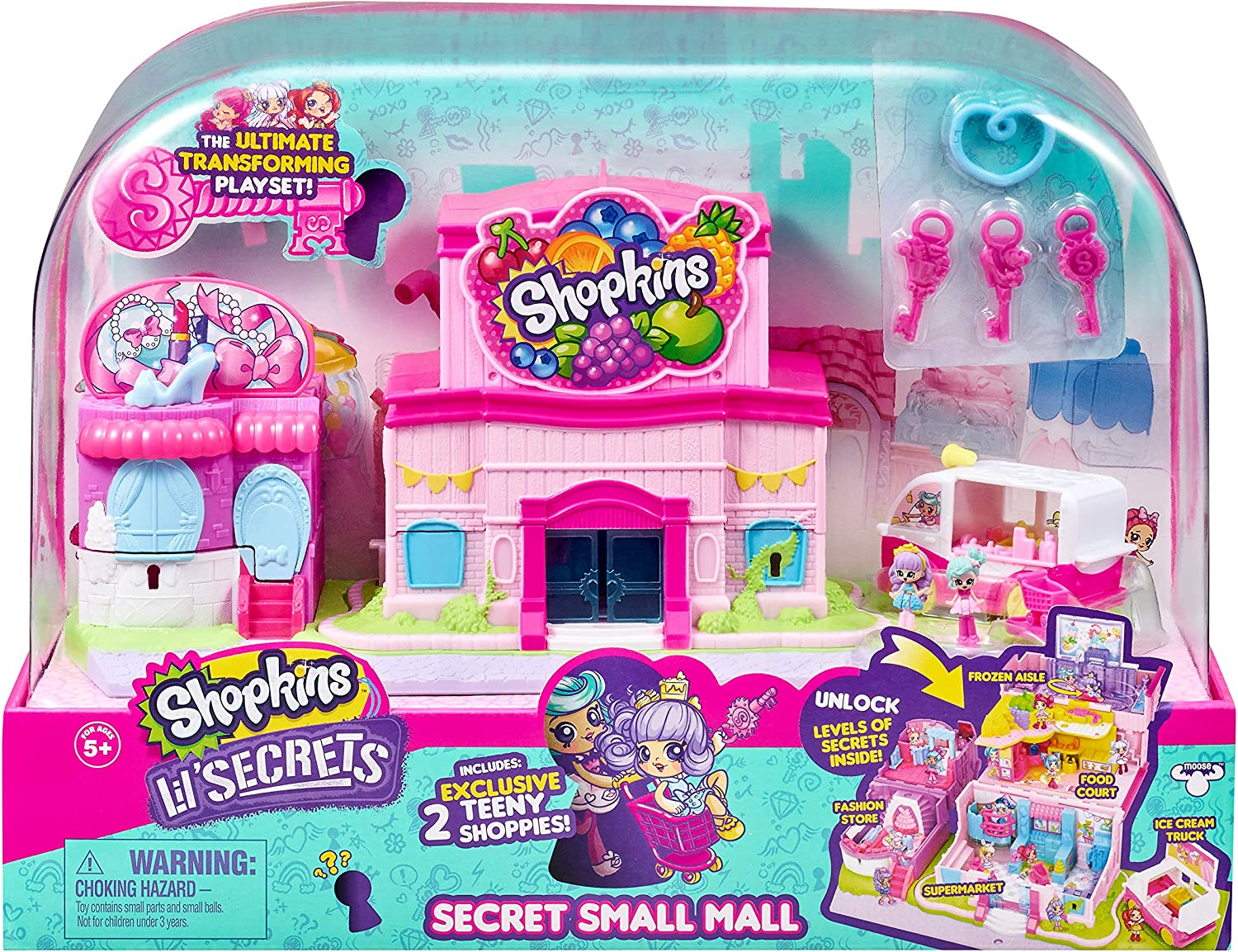 Shopkins Lil' Secrets Secret Small Mall Multi Level Playset with Grocery Store, Fashion Boutique & Ice Cream Truck