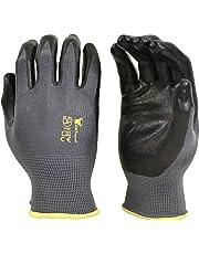 G & F 15196L Seamless Nylon Knit Nitrile Coated Work Gloves, Garden Gloves, Black, Large, 6 Pair Pack