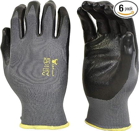 6-Pack Nitrile Coated Garden Gloves
