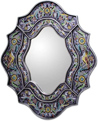 NOVICA Spring Violets Reverse Painted Glass Mirror