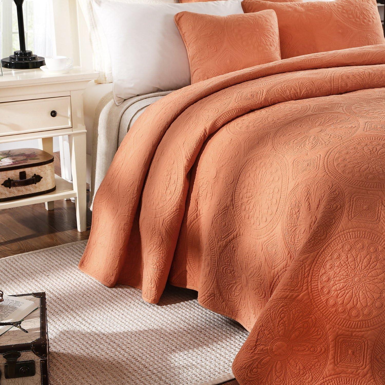 Tache Solid Rustic Stone Washed Cotton Mandala Matelass/é Pastel Light Orange Fall Harvest Bohemian Quilt Bedspread 3 Piece Set Queen