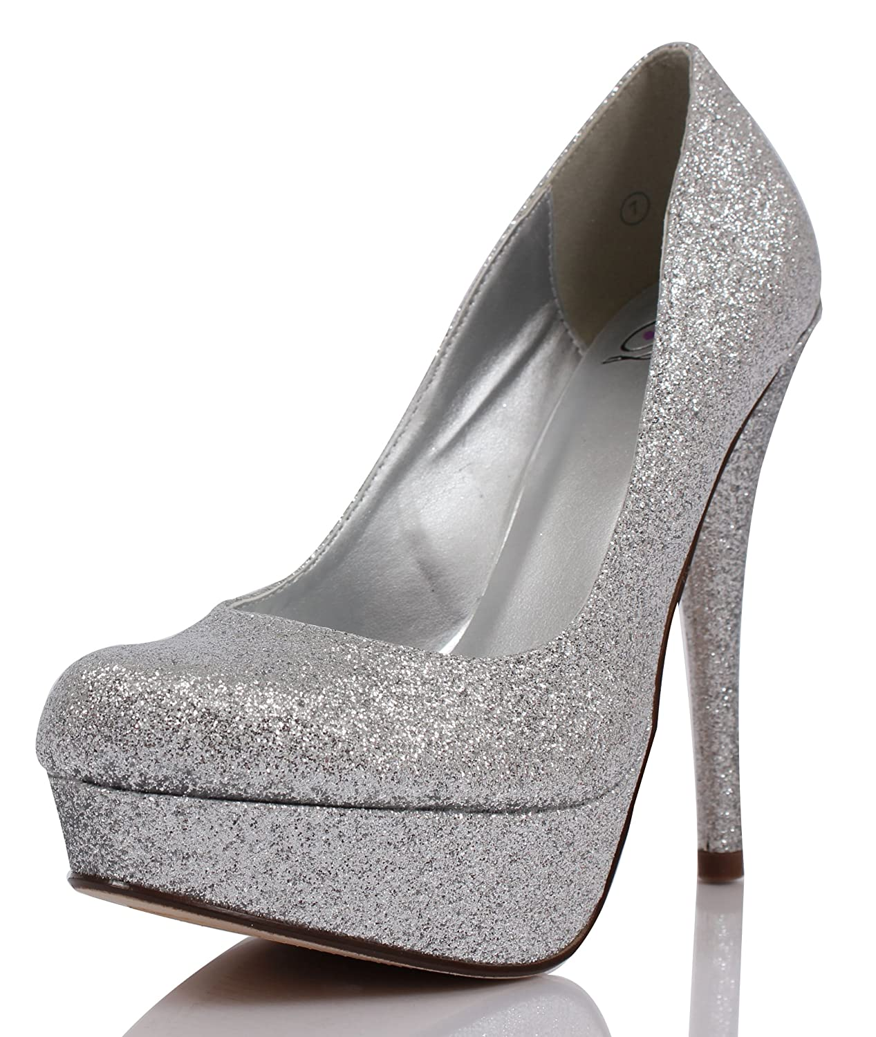 Amazon.com | Silver Glitter Round Toe Platform High Heel Pumps ...