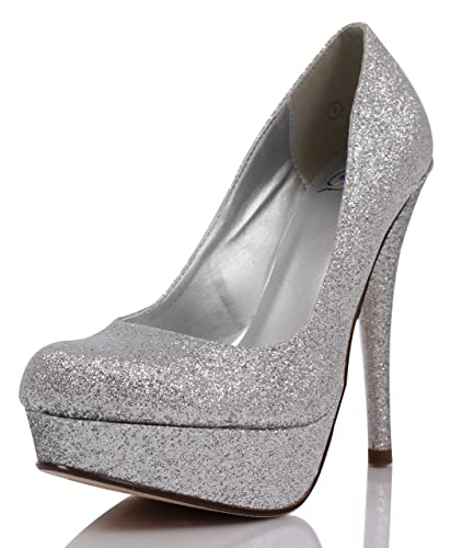 Amazon.com | Silver Glitter Round Toe Platform High Heel Pumps ...