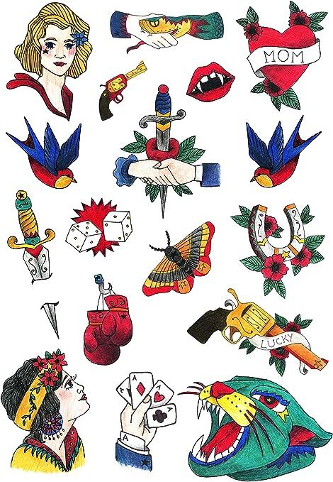 Tatuajes Temporales TATSY, Oldschool Set, Diseño Original y ...