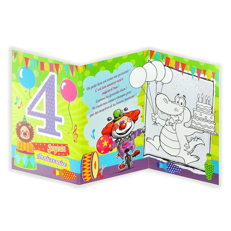 Afie 882104 Carte 3 Volets Joyeux Anniversaire 4 Ans Cadeau De Noel
