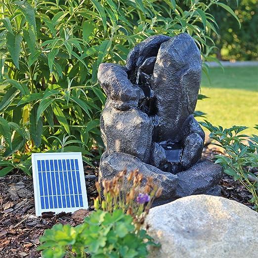 CLGarden – Fuente solar NSP14 con acumulador e iluminación LED - Fuente solar con cascada y juego de agua para el jardín, el balcón o la terraza: Amazon.es: Jardín