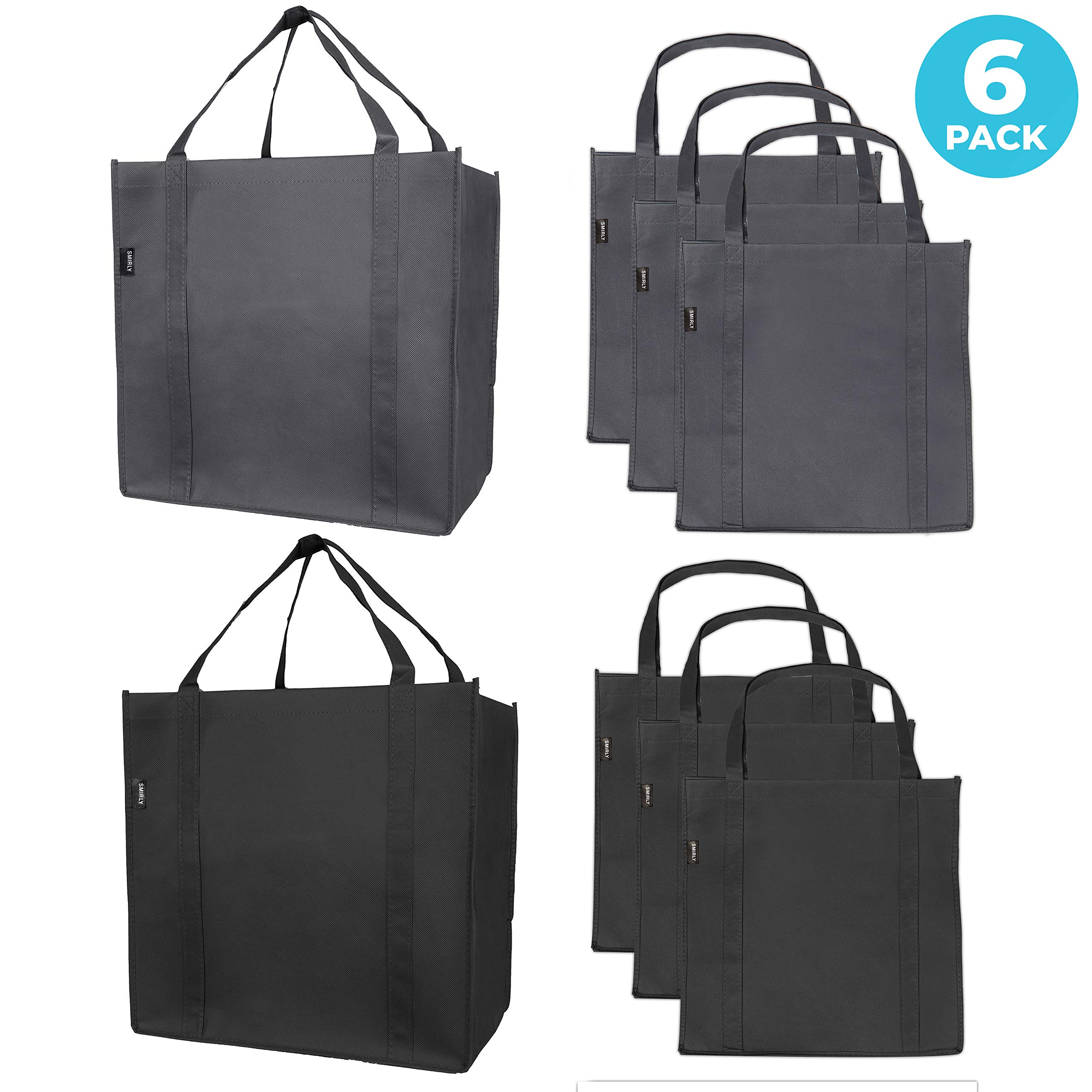 Reusable Folding Grocery Tote Bags: 6 Extra Large Fabric Totes with Handles and Inner Pocket, Heavy Duty Shopping Totes With Thick Support Bottom