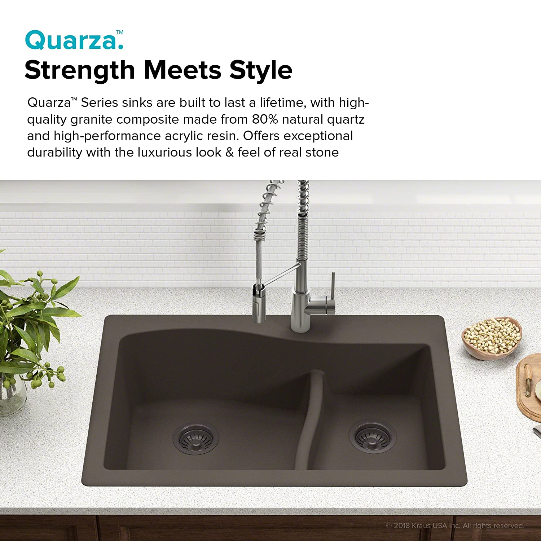 Kraus kgd 442grey kitchen sink granite 33 inch grey amazon com