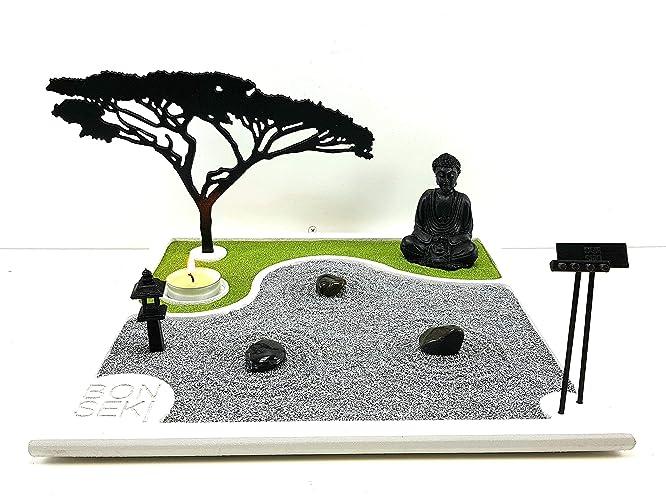 Bonseki® giardino zen da tavolo 30 x 30 in legno proietta lombra