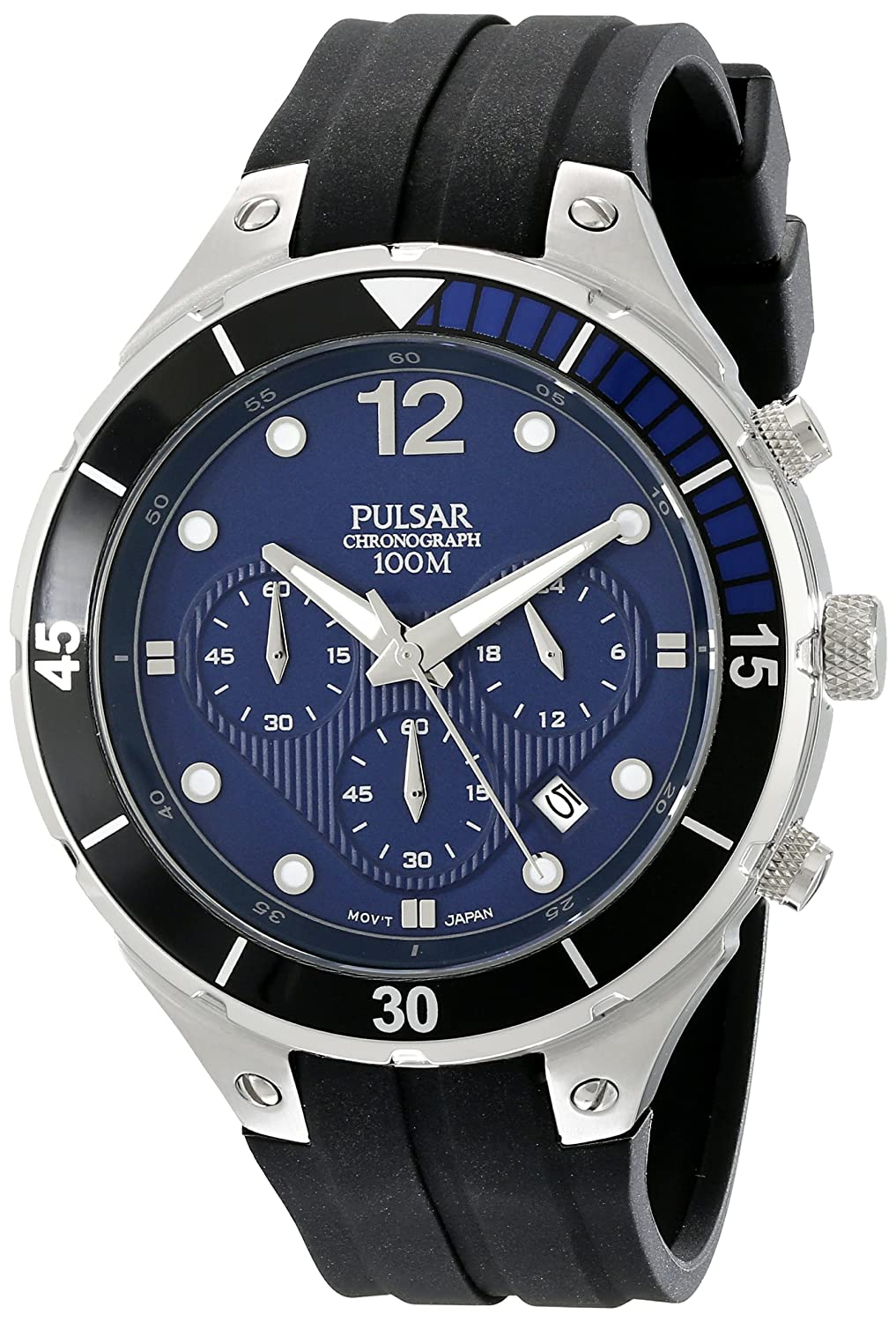 Pulsar Men s PT3639 Stainless Steel Watch with Ridged Silicone Band