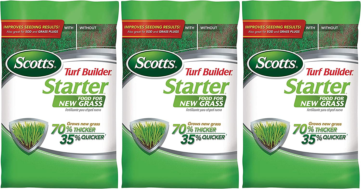 Scotts Turf Builder Starter Food for New Grass, 15 lb. - Lawn Fertilizer for Newly Planted Grass, Also Great for Sod and Grass Plugs - Covers 5,000 sq. ft. - 3 Pack