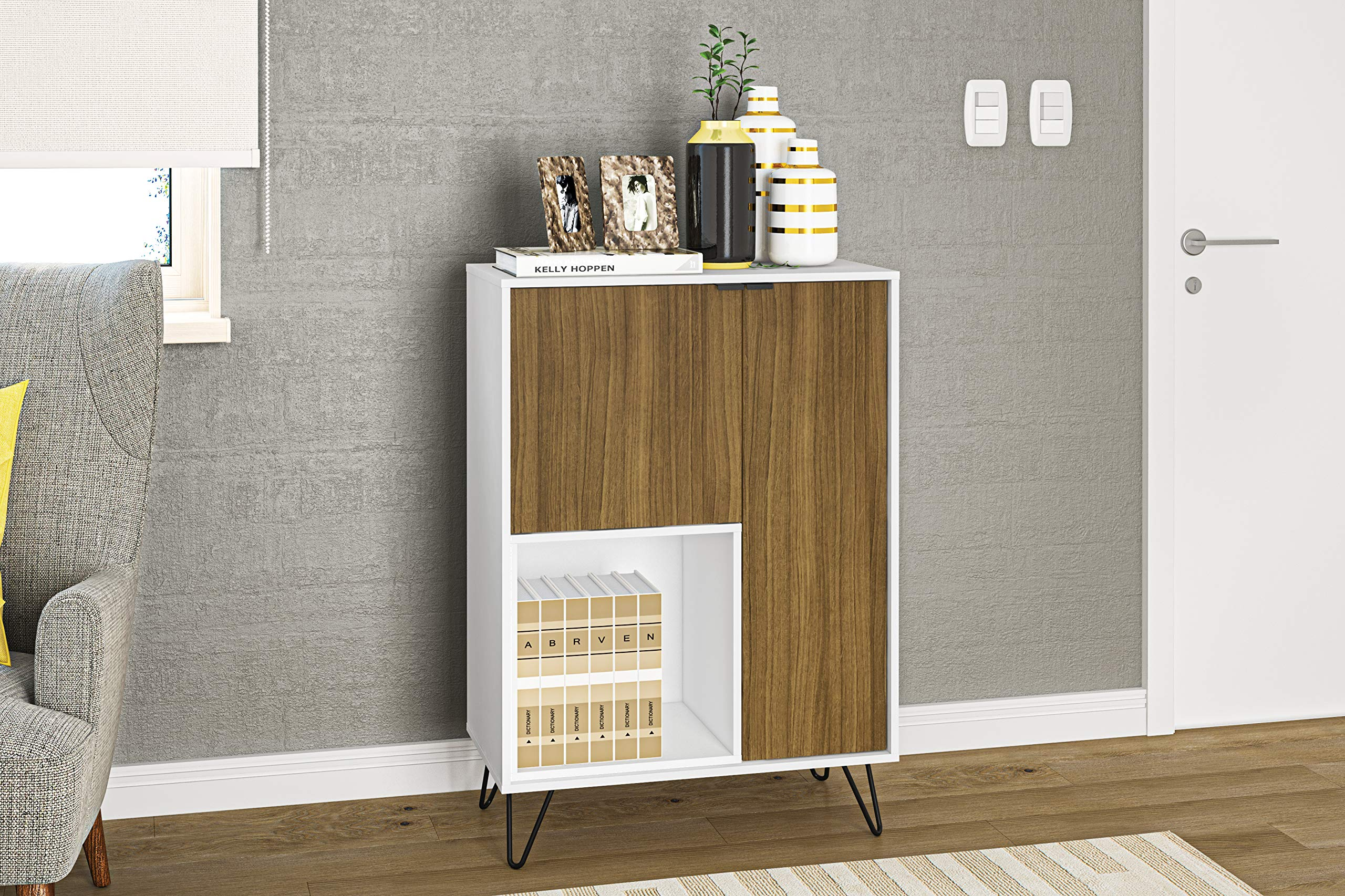 Boahaus 29'' Modern Sideboard, Two Doors, one Open Compartment (White-Walnut)