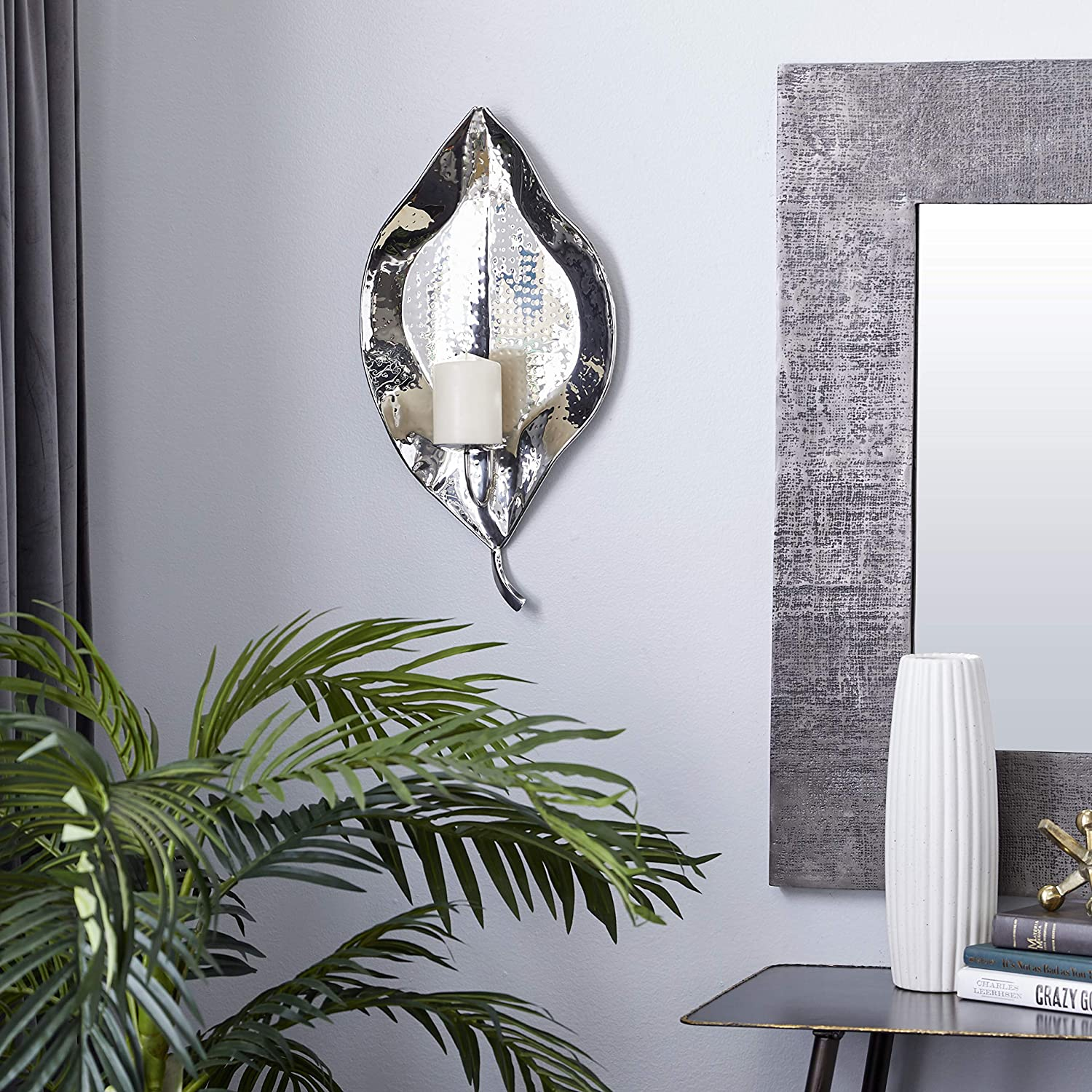 Deco 79 Candlestick Holders Wall Sconce, Silver