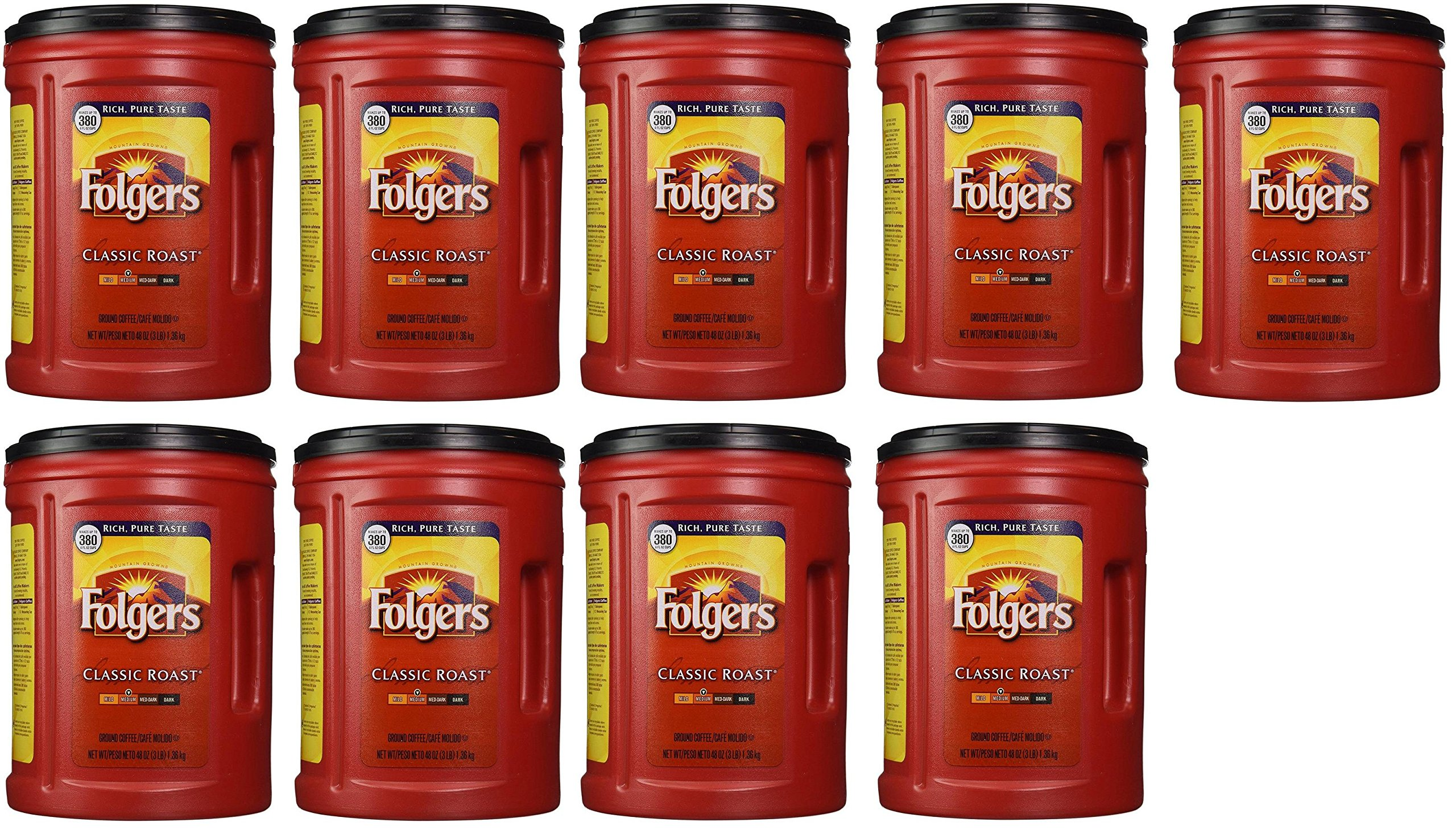 Folgers Coffee, Classic(Medium) yyTpBA Roast, 48 Ounce, 9 Pack