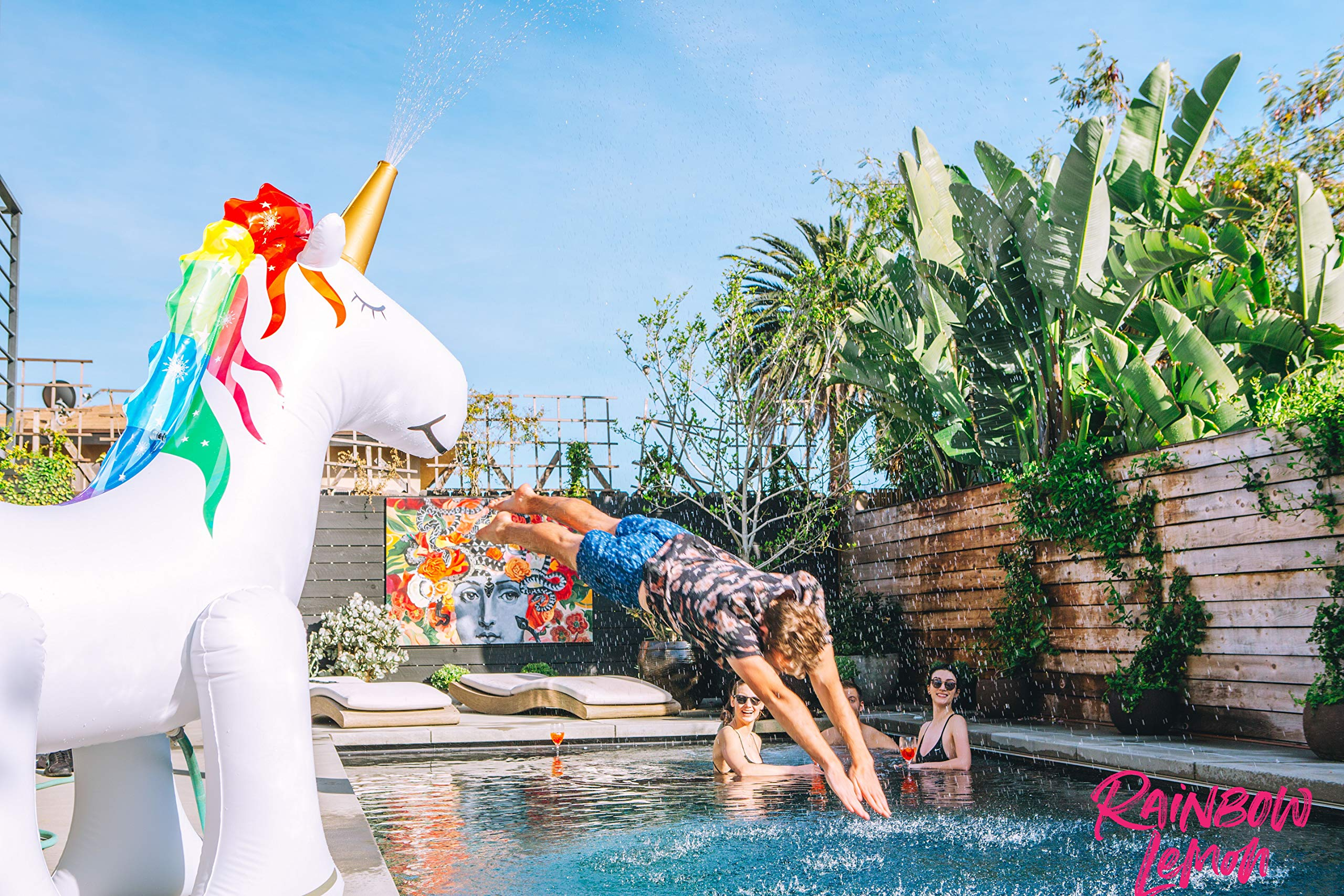 Rainbow Lemon Giant Inflatable Unicorn Sprinkler 7