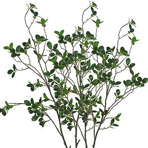 Warmter 43.3 Inch Artificial Eucalytus Green Branches Pine Evergreen Plant Tree Branch for Home Wedding Garden Office 2 Pcs--Warmter