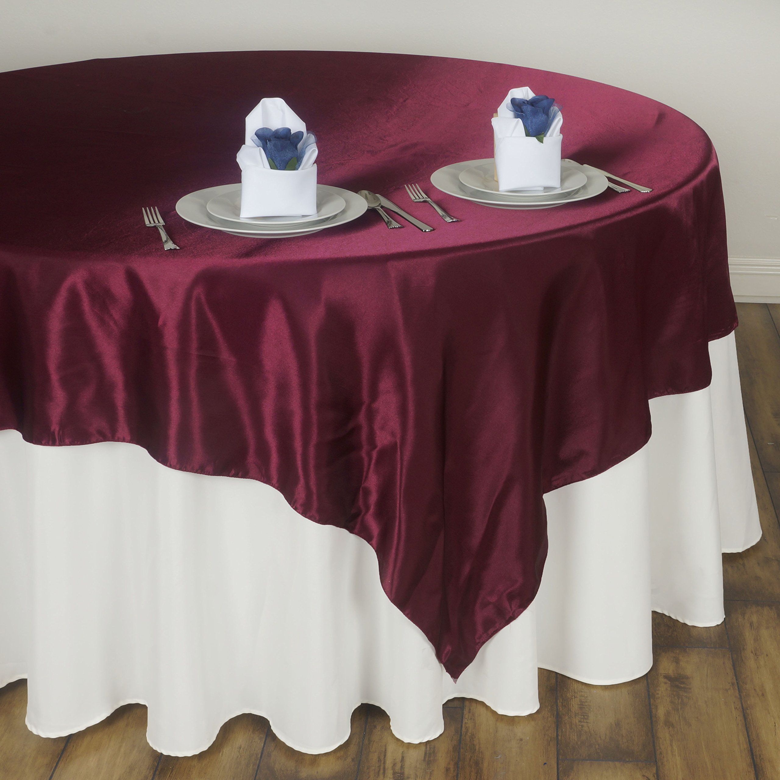 BalsaCircle 5 pcs 72x72-Inch Burgundy Satin Table Overlays - Wedding Reception Party Catering Table Linens Decorations