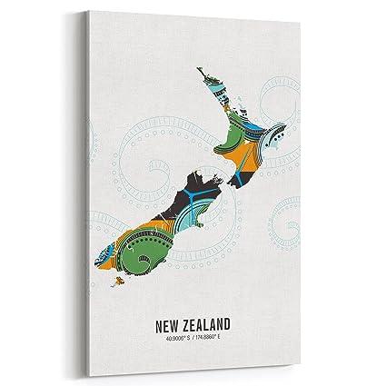 Amazon Com New Zealand Map Modern Travel Canvas Wall Art 20x30