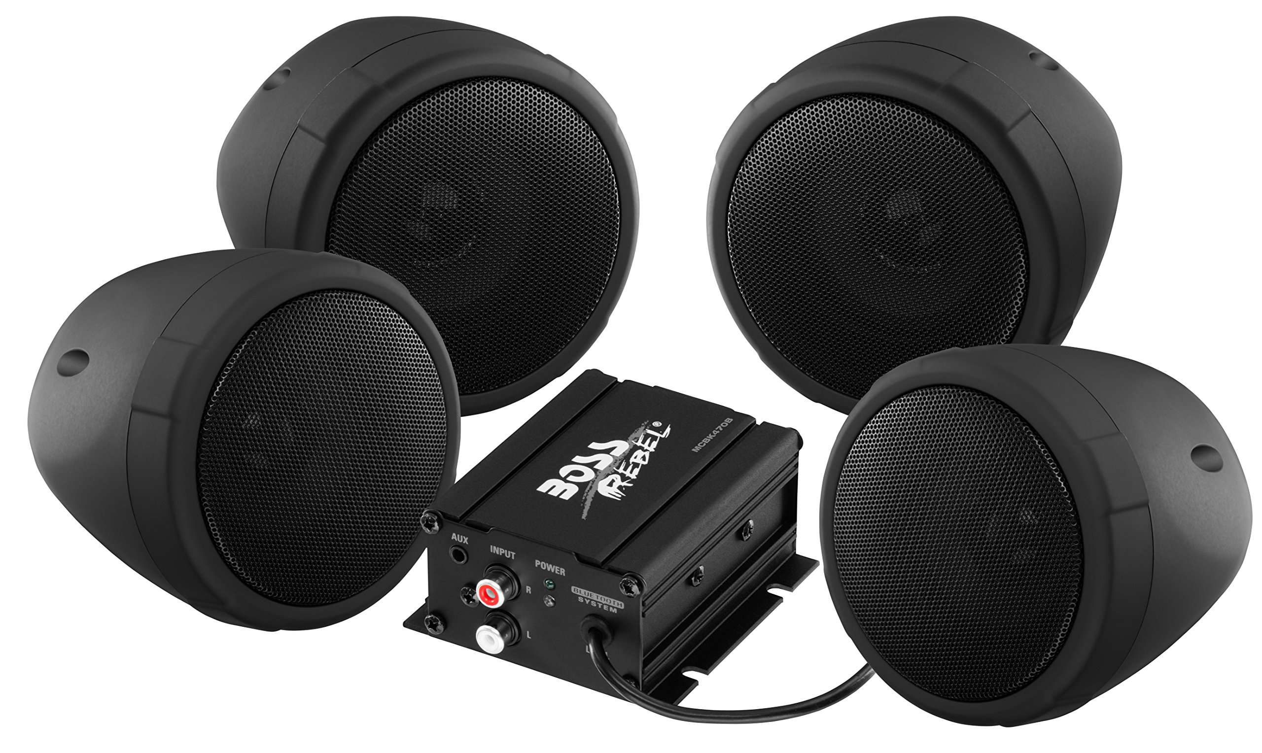 BOSS Audio MCBK470B Weatherproof Speaker/Amplifier Sound System, Bluetooth Amplifier, Four Speakers, Inline Volume Control, Ideal For Motorcycles/ATV and 12 Volt Applications