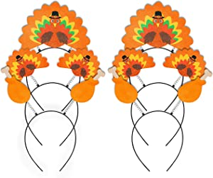 Geefuun 6PCS Thanksgiving Turkey Headband Decorations - Party Head Boppers Accessories
