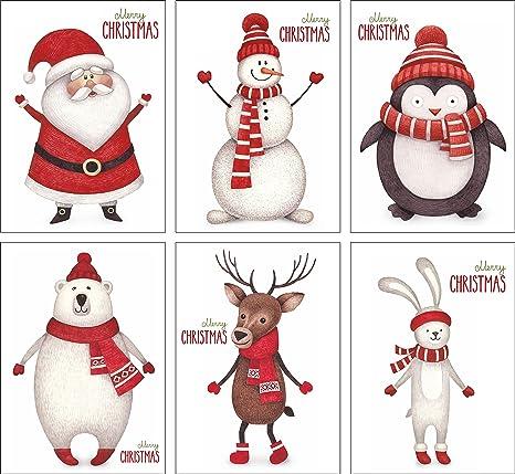 Cartoline Di Natale Vintage Da Stampare.12 Cartoline Natalizie Set Con 6 Motivi Din A6 Esclusivo Porcellanato Pregiato Set Di Cartoline Biglietti Di Auguri Di Natale
