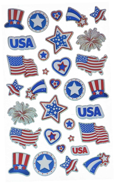 Darice 1214-45 32 Piece Patriotic Holographic Sticker